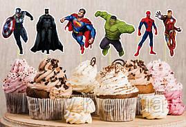 """Набор средние топперы в кексы  (6 см) вырубка """"Супергерои/Мстители/Марвел"""" (6шт./уп.)"""