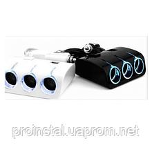 АЗУ разветвитель WEIFENG, 12V-3*12V+2*USB, Black, Blister