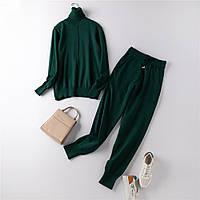Костюм жіночий двійка трикотажний кофта та штани, темно зелений розмір S/M