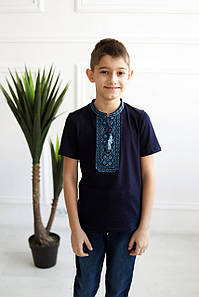 Вишита футболка для хлопчика з стійкою dxl-05