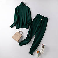 Костюм женский двойка трикотажный кофта и штаны, темно зеленый  размер S/M, опт, фото 1