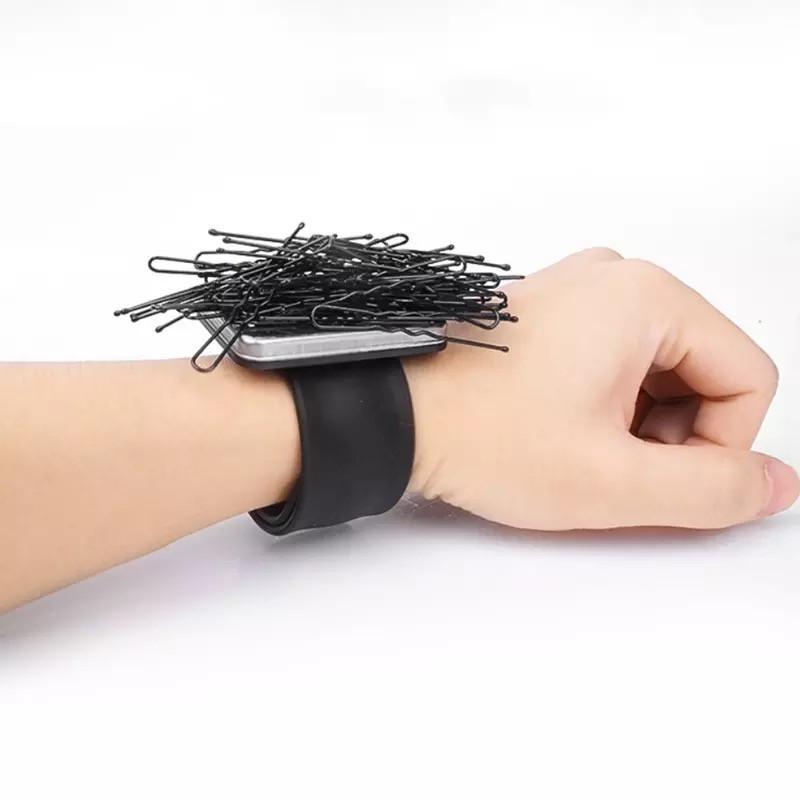 Магнитный браслет мастера для невидимок и шпилек, черный