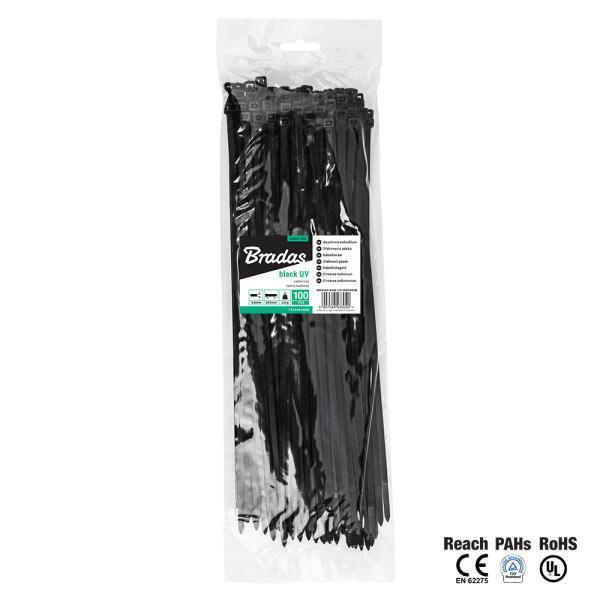 Кабельная стяжка, пластиковая, 4,8 х 450 мм, UVBlack, TS1048450B