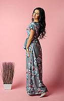 Длинное весенне-летнее платье в пол серого цвета с турецкого софта, фото 1