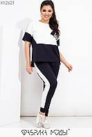 Летний женский спортивный костюм в больших размерах с футболкой 1BR579