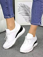 Женские кожаные белые кроссовки с черными вставками 75OB134