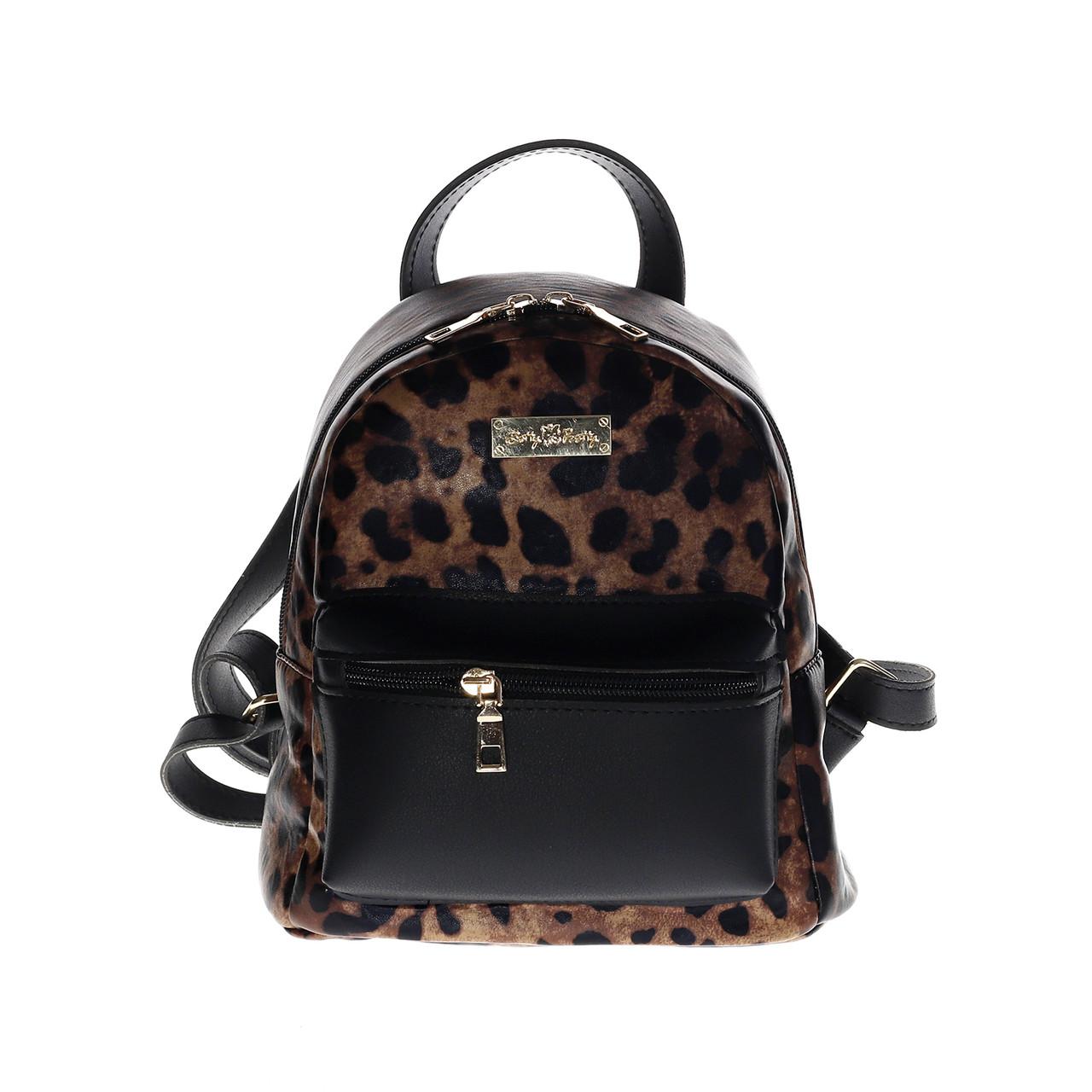 Рюкзак городской женский молодежный Betty Pretty черный-леопард 884LEO