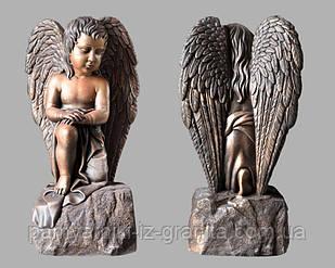 Ангелочек из искусственного мрамора - 85 см Бронзовый
