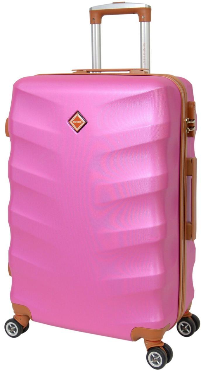 Чемодан дорожный пластиковый с кодовым замком на 8 прочных каучуковых колесах средний 65 см розовый