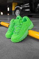 Кроссовки женские весенние осенние качественные модные Fila Disruptor 2 Green Neon, фото 1