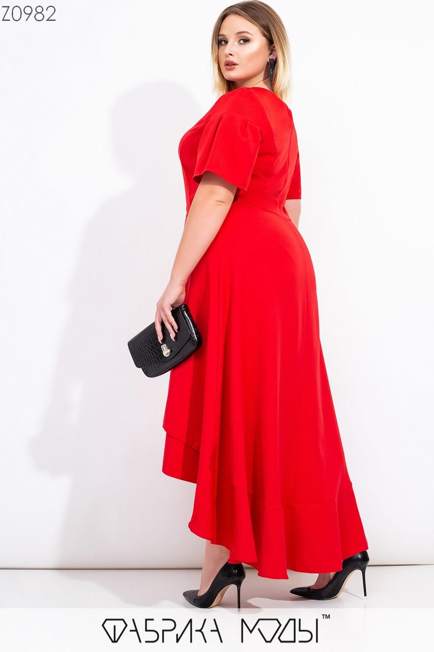 Длинное асимметричное платье в больших размерах с коротким рукавом и расклешенной юбкой 1ba566