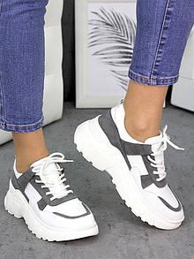 Белые женские кожаные кроссовки с контрастными вставками 75OB128