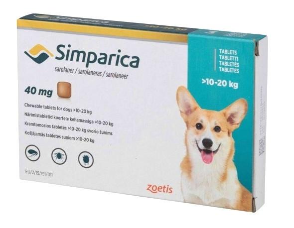 Таблетка от блох и клещей Симпарика Simparica для собак 10-20 кг 1 табл.
