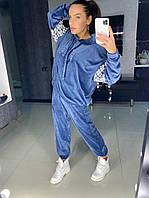 Велюровый женский брючный спортивный костюм со свободной кофтой 18st518