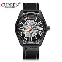 Часы CURREN 8299 Black Edition Skeleton 47mm (Механика)