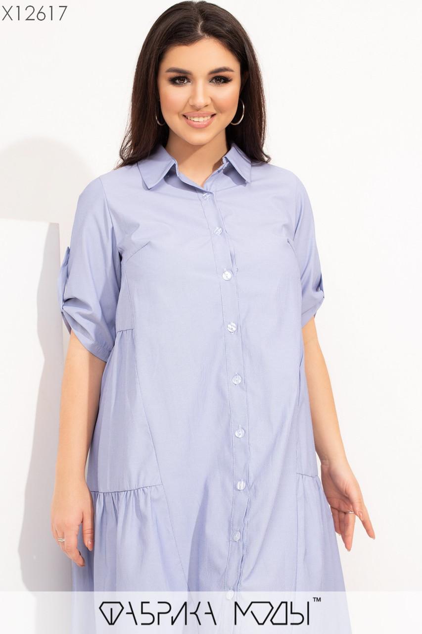 Летнее свободное коттоновое платье рубашка в больших размерах 1uk581