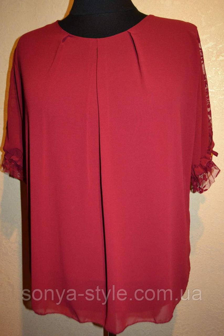 Женская блузка   из шифона   больших размеров
