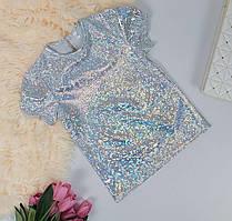 Блестящая летняя футболка голограмма для девочки 110-128 р