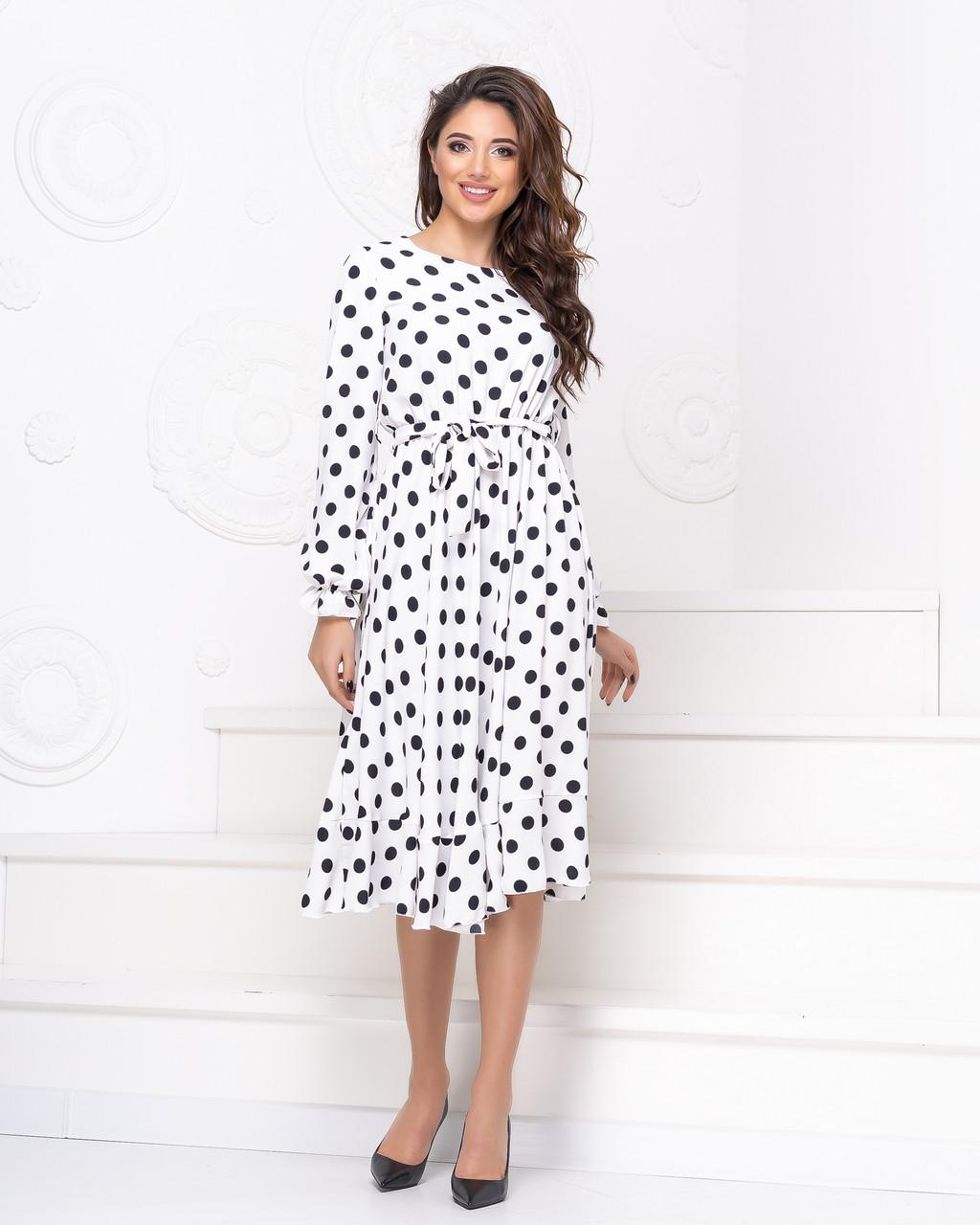 Платье с поясом NOBILITAS 42 - 48 белое хлопок (арт. 20013)