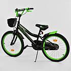 Двухколесный детский велосипед 20 дюймов CORSO R-20651 черно-зеленый с корзинкой, фото 2