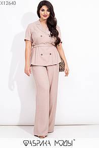 Льняной женский брючный костюм в больших размерах с рубашкой под пояс и брюками клеш 1blr573