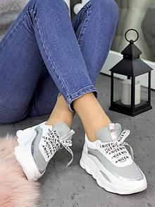 Белые женские кожаные кроссовки с серой сеткой 75OB124