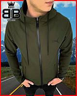 Мужская куртка Puma Soft Shell весенняя ветровка (хаки) В3
