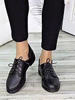 Черные кожаные женские туфли на плоской подошве 75OB133