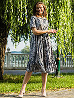 Легкое молодежное леопардовое платье с резинкой размеры 52
