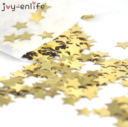 """Конфетти золото """"Звёздочки"""" - 10г, жесткий, (размер одной звездочки 1,5см)"""
