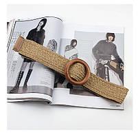 Эластичный плетеный пояс с деревянной пряжкой для женщин - Коричневый, фото 3