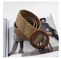 Эластичный плетеный пояс с деревянной пряжкой для женщин - Коричневый, фото 4