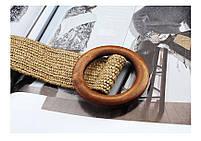 Эластичный плетеный пояс с деревянной пряжкой для женщин - Коричневый, фото 5