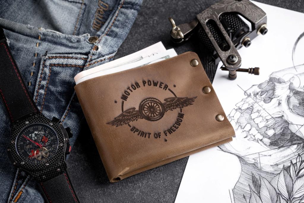 Чоловічий шкіряний гаманець ТатуНаКоже, POWER MOTOR