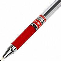 Ручка масляна Hiper Max Writer HO-335 2500 м 0,7 мм червона корпус прозорий, фото 1