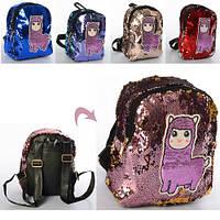 Рюкзак MK 4241 24-20-10см,1отд,застеж-молния,2наружн/1внутр.карм,лама,пайетки, 5цв, в кульке