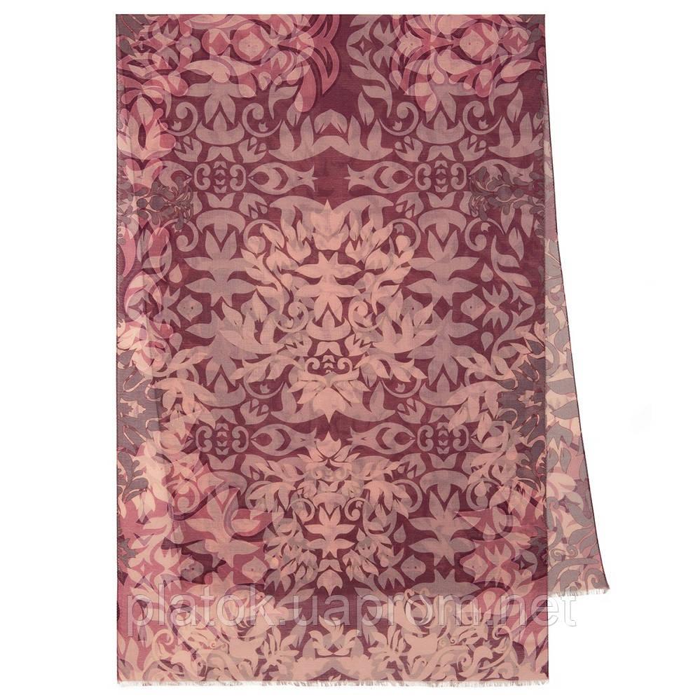 Палантин шерстяной 10396-15, павлопосадский шарф-палантин шерстяной (разреженная шерсть) с осыпкой