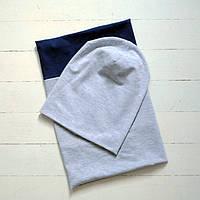 Комплект: шапочка бини со снудом, меланж с темно-синий. ОГ 46, 48, 50, 52, 54 см