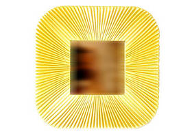 Дзеркало квадратне 26*26 см, Промені, золоте, дзеркало 11 см ООПТ