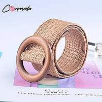 Эластичный плетеный пояс с деревянной пряжкой для женщин - Коричневый, фото 7