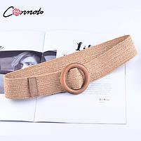 Эластичный плетеный пояс с деревянной пряжкой для женщин - Коричневый, фото 8