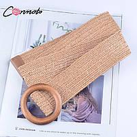 Эластичный плетеный пояс с деревянной пряжкой для женщин - Коричневый, фото 10