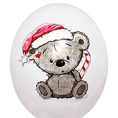 "0000 Шар 12"" (30 см) Мишка Тедди на белом (Китай)"
