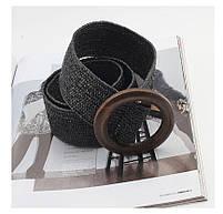 Эластичный плетеный пояс с деревянной пряжкой для женщин - Черный, фото 2