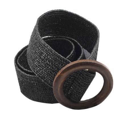 Эластичный плетеный пояс с деревянной пряжкой для женщин - Черный