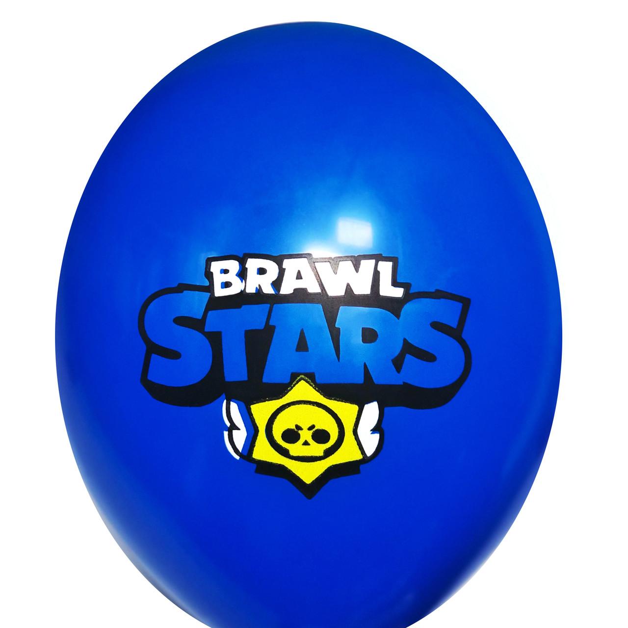 """0323 Шар 12"""" (30 см) Brawl Stars / Бравл Старс эмблема на синем (BelBal)"""