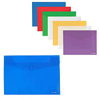 Папка-конверт А3 на кнопці,180 мкм, фактура Глянець Economix, мікс кольорів