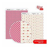 "Бумага дизайнерская двусторонний матовый ""Love"" 3, 21х29,7 см, 200 г/м2, ROSA TALENT"