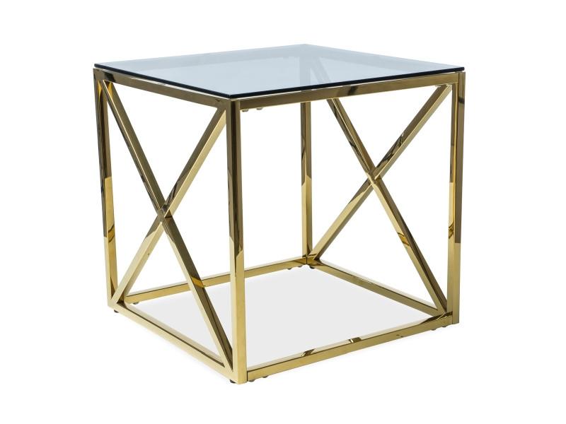 Журнальний стіл ELISE B скло дымчастое/золото 55X55 (Signal)
