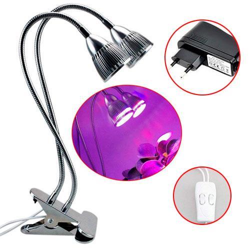 Фитолампа фито лампа для растений, Двойная, гибкие головки LED 10Вт